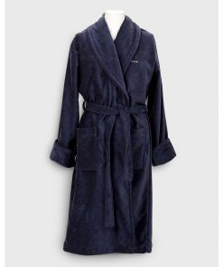 Gant Home Premium Velour Robe Dark Blue