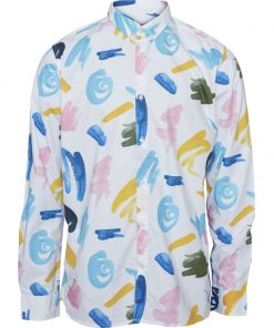 Knowledge Cotton Apparel Shirt With Wate White