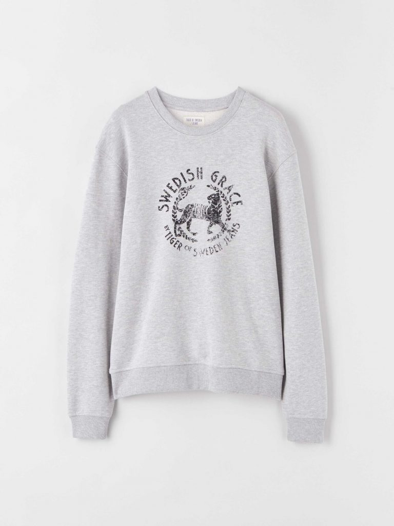 Tiger Jeans Tana Print Sweatshirt Light Grey