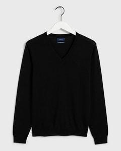 Gant Fine Merino V-Neck Knitted Sweater Grey