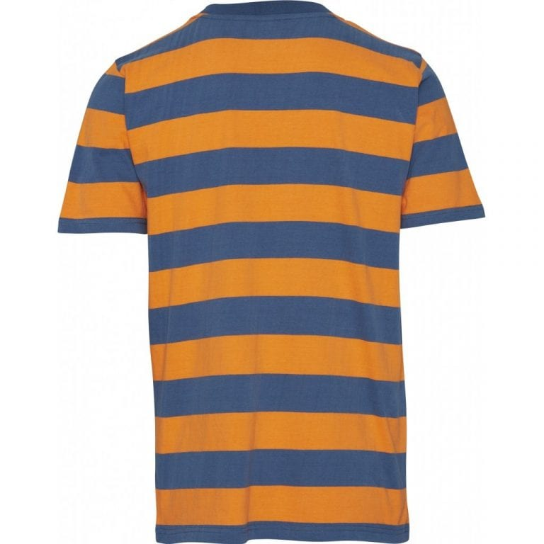 Knowledge Cotton Apparel Striped T-shirt Dark Blue