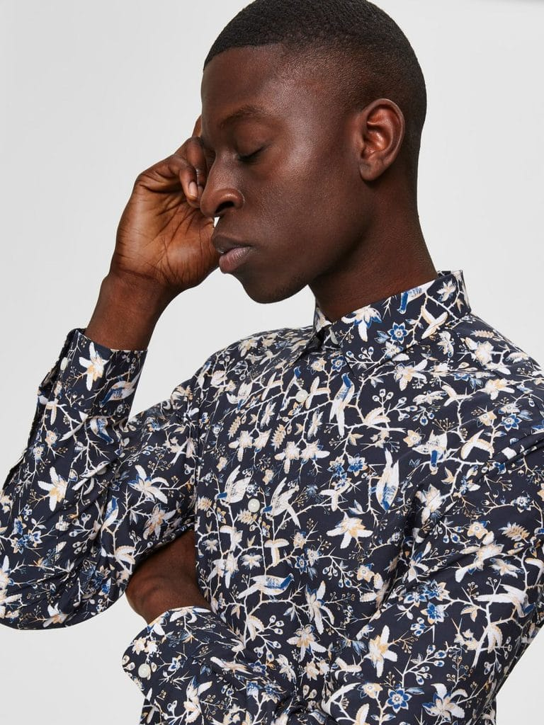 Selected Slimpen-Rory Shirt Botanical Print Blue