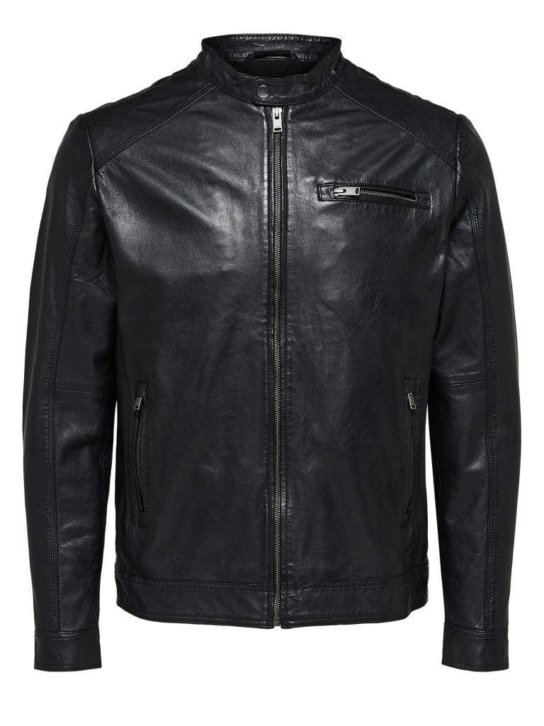 Selected Classic Leather Jacket Black