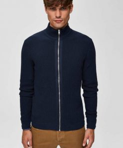Selected Oliver High Zip Cardigan Blue