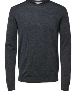 Selected Tower New Merino Crew Neck Grey