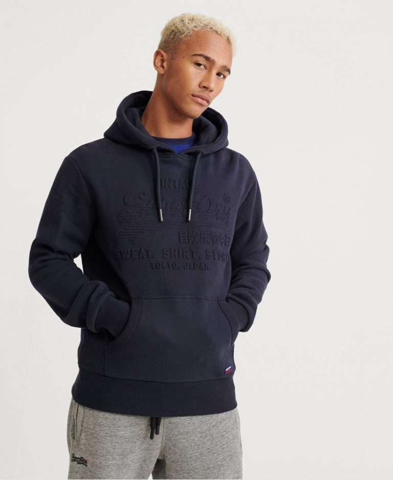 Superdry Sweat Shirt Shop Embossed Hood Blue