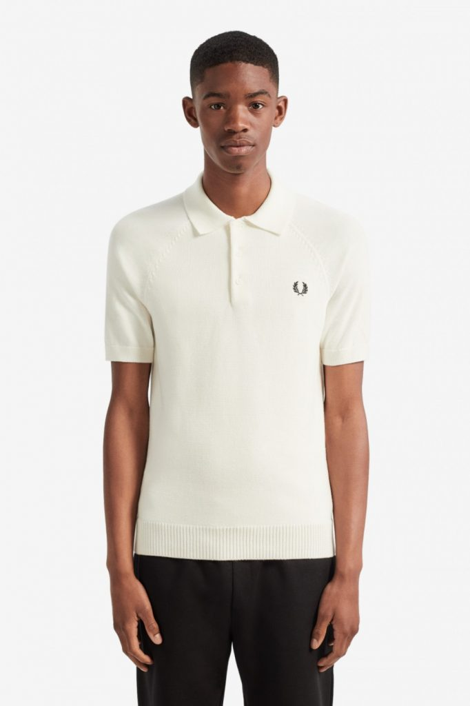 Fred Perry Contrast Knitted Shirt Natural White