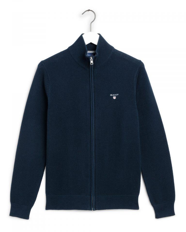 Gant Cotton Pique Zip Cardigan Navy