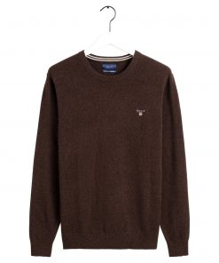 Gant Superfine Lambswool O-neck Dark Brown