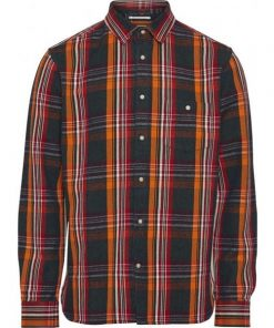 Knowledge Cotton Apparel Checked Shirt Dark Blue