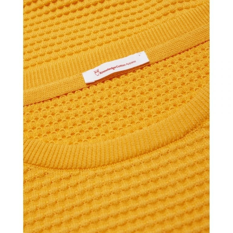 Knowledge Cotton Apparel Field O-Neck Knit Yellow