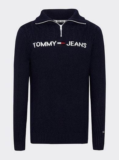 Tommy Jeans Textured Mock Sweater Tumman Sininen