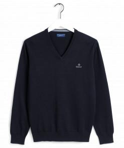 Gant Classic Cotton V-Neck Sweater Blue