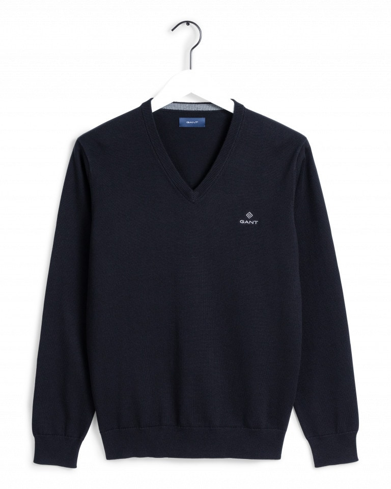 Gant Classic Cotton V-Neck Sweater Blue