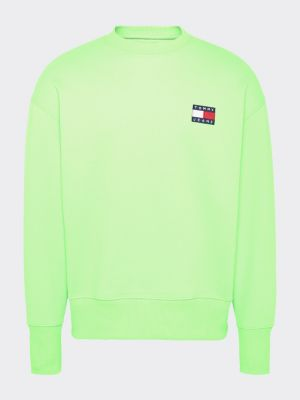 Tommy Jeans Tommy Badge Neon Crew Green
