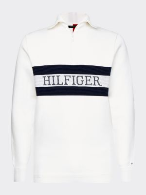 Tommy Hilfiger Zip Mock Neck Sweater Luonnon Valkoinen