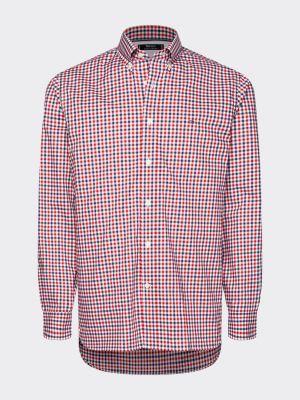 Tommy Hilfiger Menswear Flex Multi Gingham Shirt Red