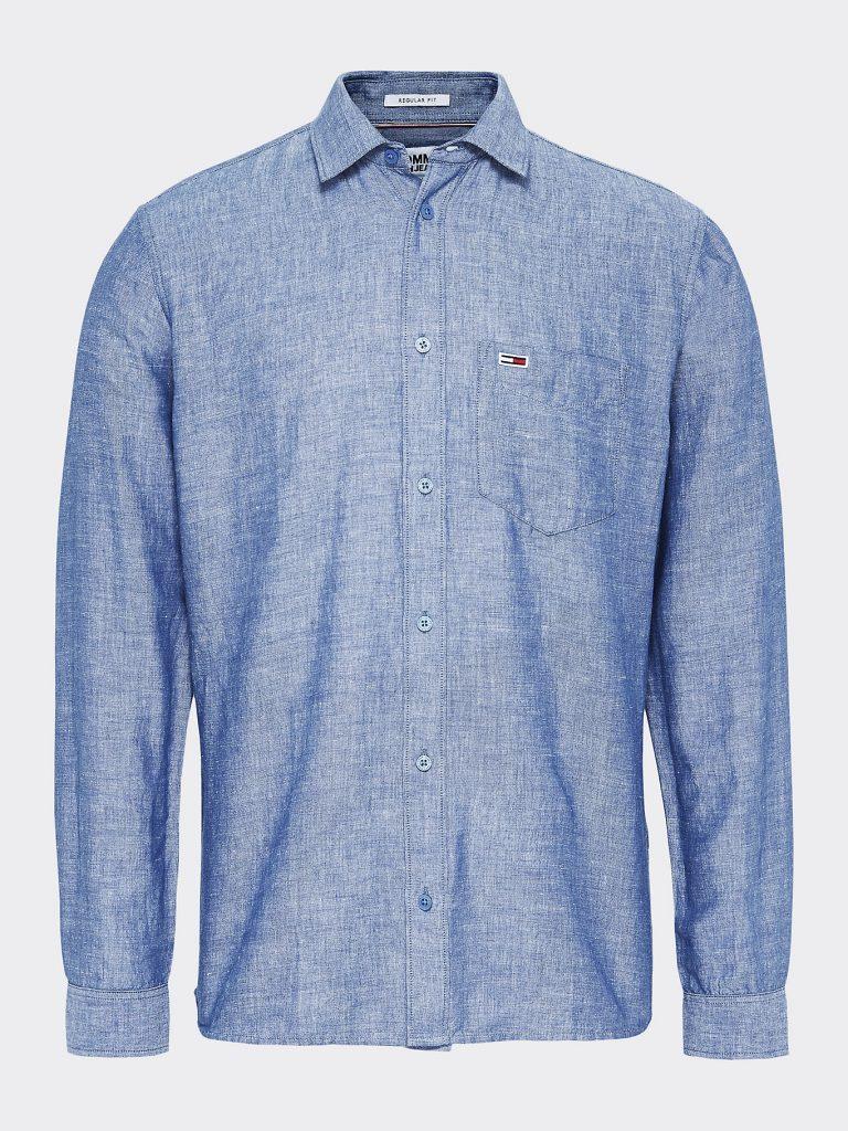 Tommy Jeans Linen Blend Shirt Navy