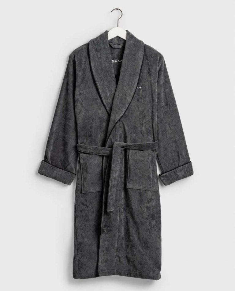 Gant Home Premium Velour Robe Grey