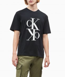 Calvin Klein Mirrored Monogram T-Shirt Black