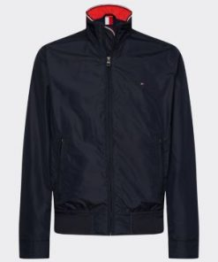 Tommy Hilfiger Stand Up Collar Bomber Jacket Blue