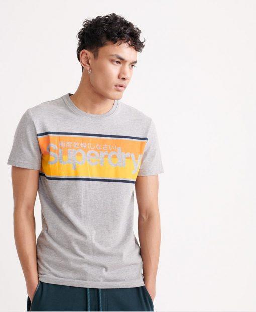 Superdry Core Logo Stripe T-shirt Grey Marl