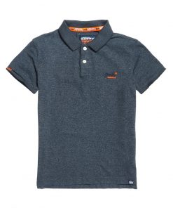 Superdry Orange Label Jersey Polo Navy Feeder