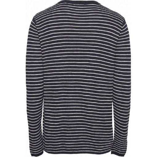 Knowledge Cotton Apparel Field Striped Knit Blue
