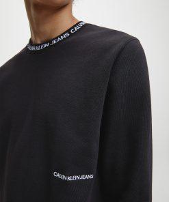 Calvin Klein Institutional Logo Collar Sweatshirt Black