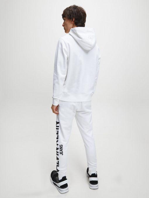 Calvin Klein Institutional Logo Collar Hoodie Bright White