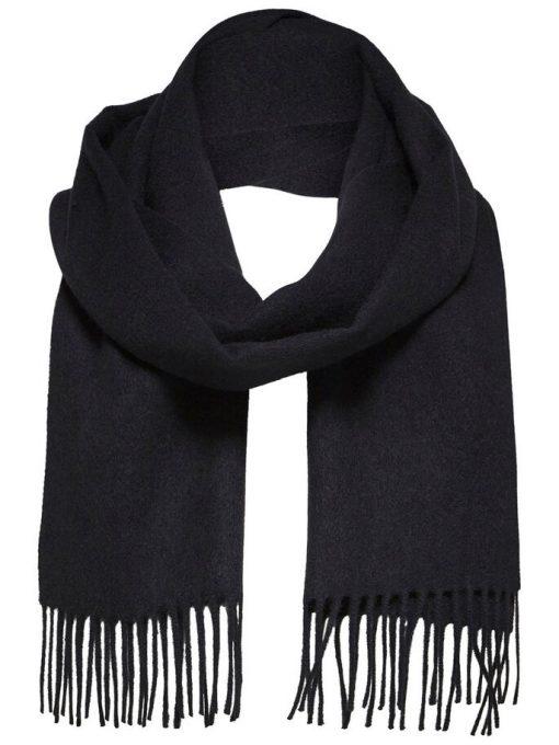 Selected Homme Tope Wool Scarf Black