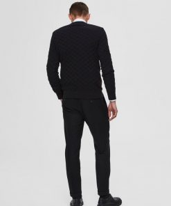 Selected Homme Diamond Pattern Crew Neck Black