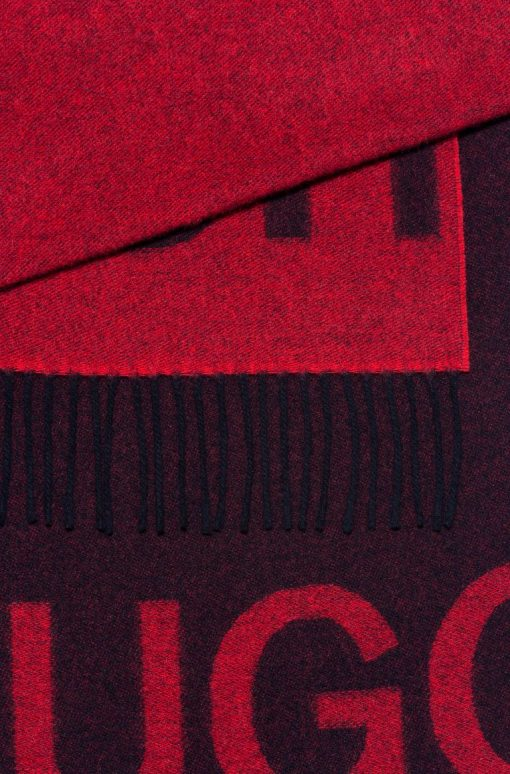 Hugo Boss Reversible Logo Scarf Patterned