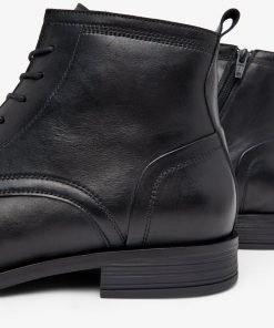 Bianco Biabyron Leather Lace-up Boots Black