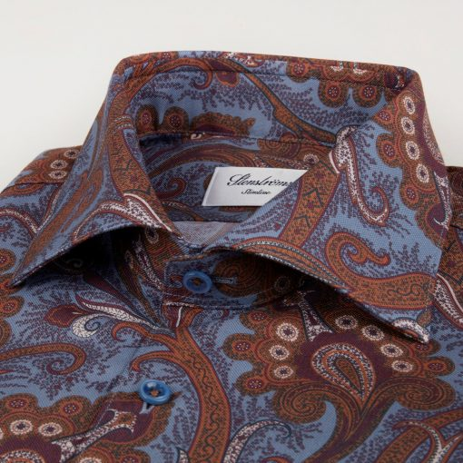 Stenströms Fitted Body Paisley Shirt Blue-brown
