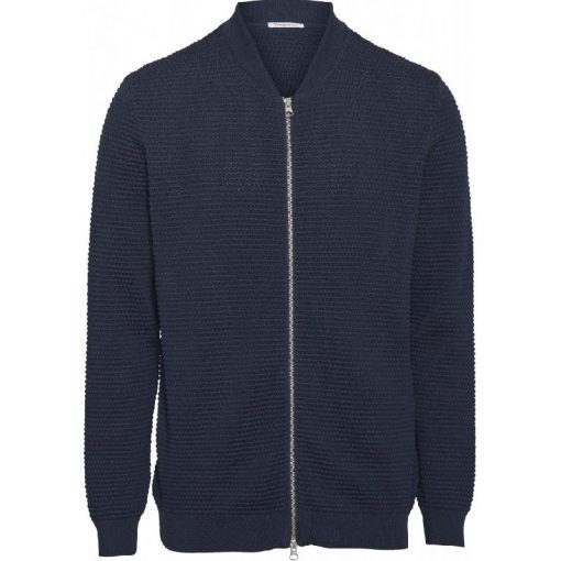Knowledge Cotton Apparel Field Zip Cardigan Total Eclipse