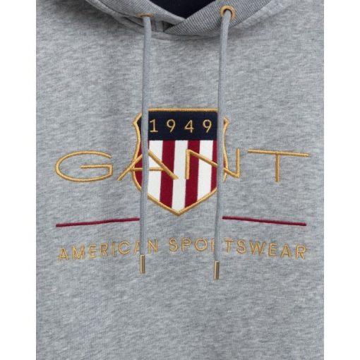 Gant Archive Shield Hoodie Grey Melange