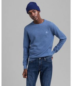 Gant Cotton Pique C-Neck Denim Blue Melange