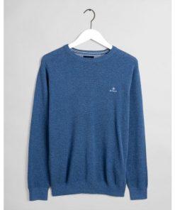 Gant Cotton Pique C-Neck Denim Blue Melange