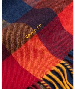 Gant Multi Check Wool Scarf Ivy Gold