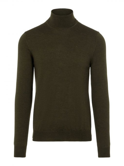 J.LINDEBERG LYD MERINO TURTLENECK SWEATER MOSS GREEN