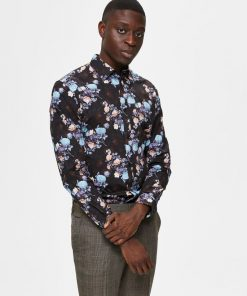 Selected Homme Floral Print Shirt Black