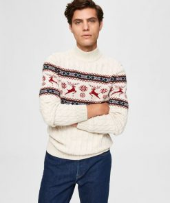 Selected Homme Oh My Deer Jumper Bone White