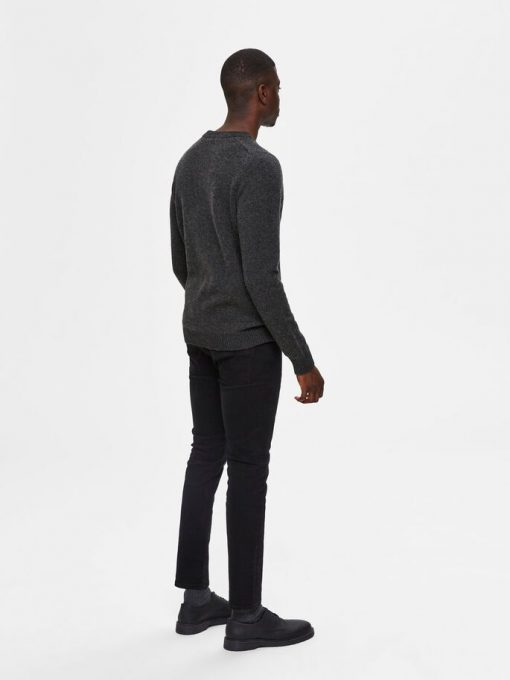 Selected Homme New Coban Lamswool Crew Anthracite