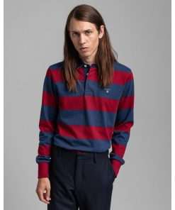 Gant Barstripe heavy Rugger Shirt Mahogany Red