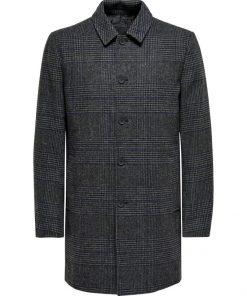 Only & Sons Adam Maximillian Coat Checked Grey