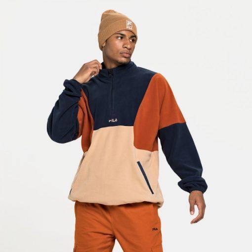 Fila Wafa Blocked Half Zip Fleece Creme