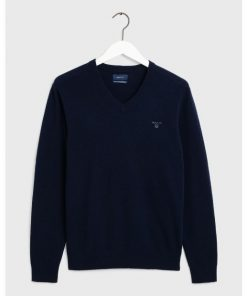 Gant Extrafine Lambswool V-neck Jumper Marine