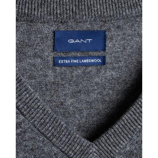 Gant Extrafine Lambswool V-neck Jumper Dark Charcoal Melange