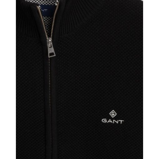 Gant Cotton Pique Zip Cardigan Black